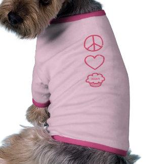 Peace, Love and Vegan Cupcakes Dog Tee
