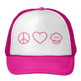 Peace Love and Vegan Cupcakes Trucker Hats