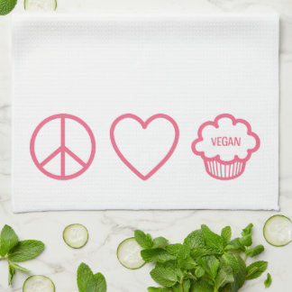 Peace Love and Vegan Cupcakes Kitchen Towels