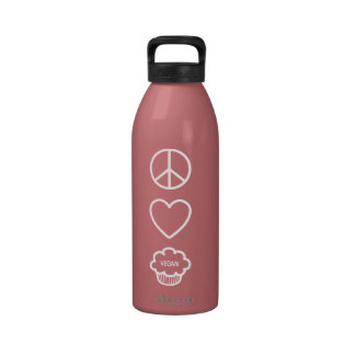 Peace Love and Vegan Cupcakes Liberty Bottle Water Bottles