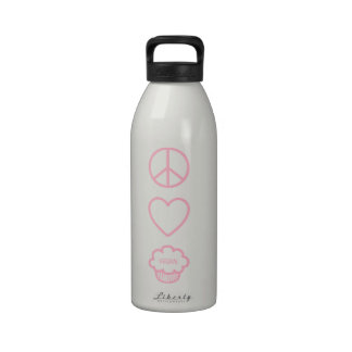 Peace Love and Vegan Cupcakes Liberty Bottle Reusable Water Bottle