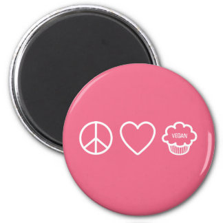 Peace, Love and Vegan Cupcakes 6 Cm Round Magnet
