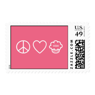 Peace, Love and Vegan Cupcakes Postage Stamp