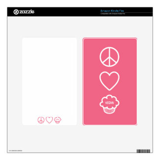 Peace, Love and Vegan Cupcakes Skin For Kindle Fire