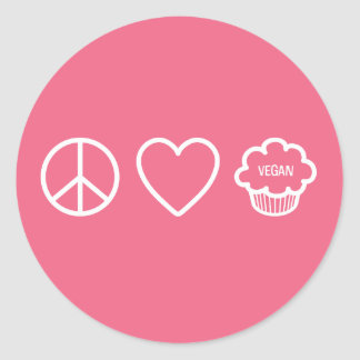 Peace, Love and Vegan Cupcakes Round Sticker