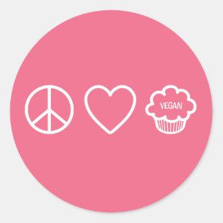 Peace, Love and Vegan Cupcakes Round Sticker