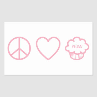 Peace Love and Vegan Cupcakes Rectangle Sticker