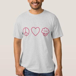 Peace, Love and Vegan Cupcakes T Shirts