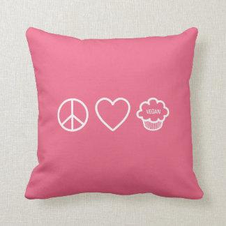 Peace Love and Vegan Cupcakes Throw Pillow