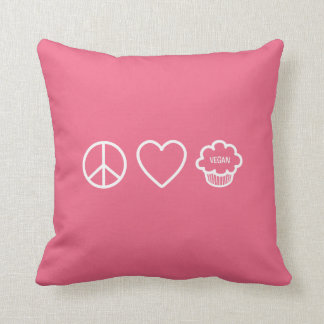 Peace, Love and Vegan Cupcakes Throw Pillow Cushions