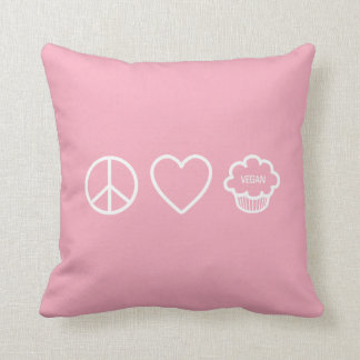 Peace, Love and Vegan Cupcakes Throw Pillow Throw Cushions