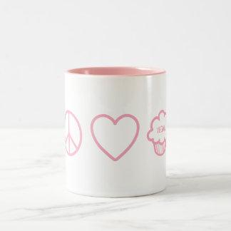 Peace, Love and Vegan Cupcakes Two-Tone Mug