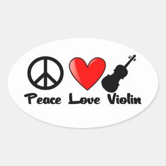 Peace, Love, and Violin Oval Sticker