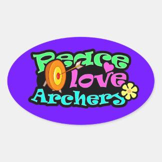 Peace, Love, Archery Oval Sticker