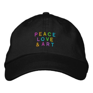 Peace, Love & Art Embroidered Baseball Caps