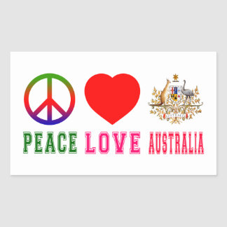 Peace Love Australia Rectangle Sticker