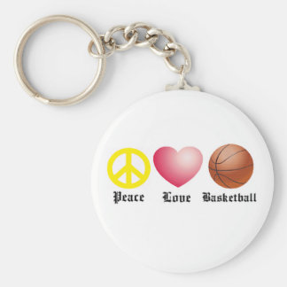 Peace, Love, Basketball Basic Round Button Key Ring