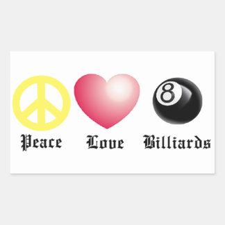 Peace, Love, Billiards (8 ball) Rectangle Stickers