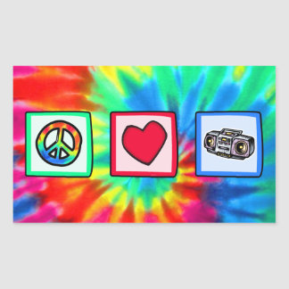 Peace, Love, Boombox Rectangular Stickers
