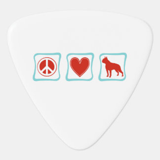 Peace Love Boston Terrier Squares Guitar Pick