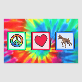 Peace, Love, Boxers Rectangle Sticker