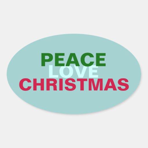 Peace Love Christmas Oval Sticker