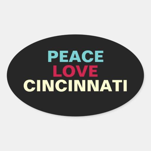 Peace Love Cincinnati Oval Sticker