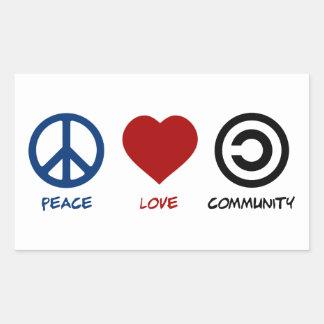 Peace Love Community Rectangular Sticker