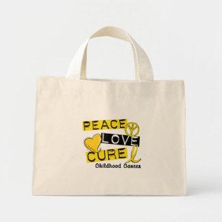 PEACE LOVE CURE CHILDHOOD CANCER MINI TOTE BAG
