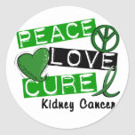 PEACE LOVE CURE KIDNEY CANCER (Green) Round Stickers