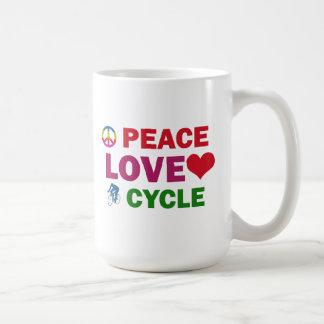 Peace Love cycle Basic White Mug