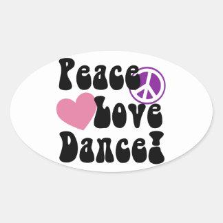 Peace, Love, Dance Oval Sticker
