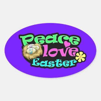 Peace, Love, Easter Oval Sticker
