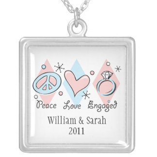 Peace Love Engaged Personalized Necklace