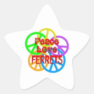 Peace Love Ferrets Star Sticker