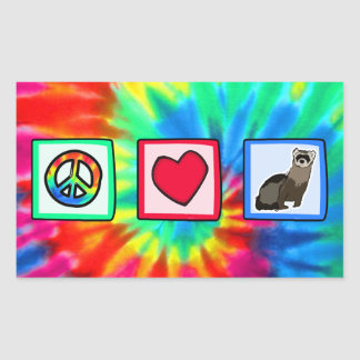 Peace, Love, Ferrets Rectangular Stickers