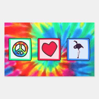 Peace, Love, Flamingos Rectangular Sticker