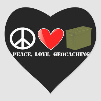 Peace, Love, Geocaching Heart Sticker