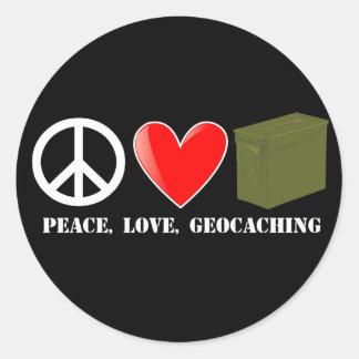 Peace, Love, Geocaching Round Sticker