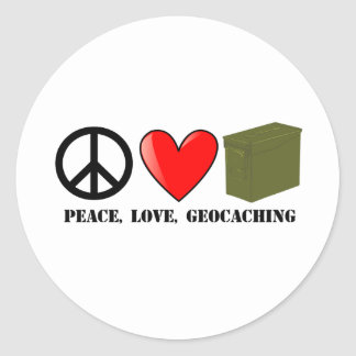 Peace Love Geocaching Stickers