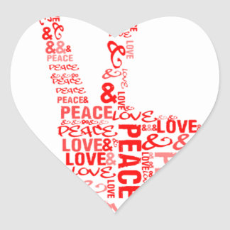 Peace Love - Give peace a chance Heart Stickers