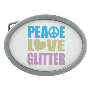 Peace Love Glitter Oval Belt Buckle