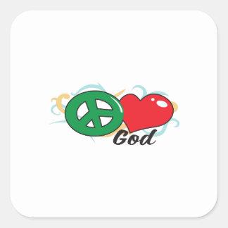 PEACE LOVE GOD SQUARE STICKER