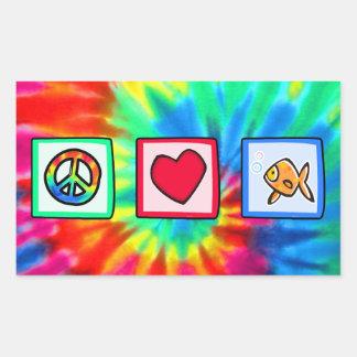 Peace, Love, Goldfish Rectangular Stickers
