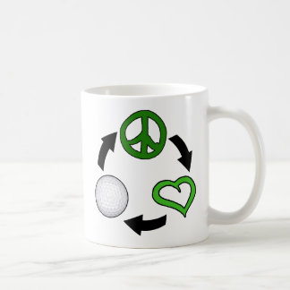 Peace, Love & Golf Cycle Basic White Mug