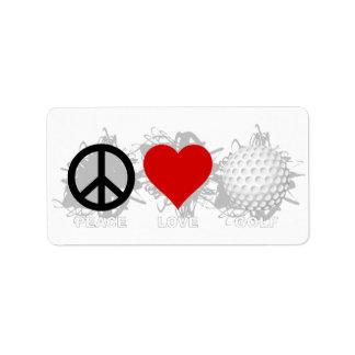 Peace Love Golf Emblem Address Label