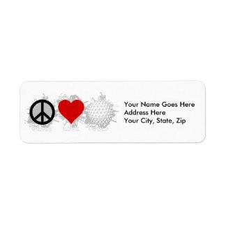 Peace Love Golf Emblem Return Address Label