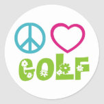 Peace Love Golf Round Sticker