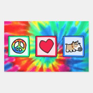 Peace, Love, Grumpy Dog Rectangle Sticker