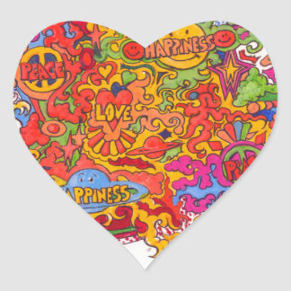 Peace, Love & Happiness Heart Sticker